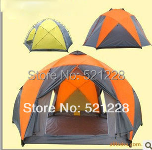 2017 Hot sale hexagonal 8-10 persons outdoor camping tent 8 person,yurt Caulking against storm tent,barraca de camping grande high quality outdoor 2 person camping tent double layer aluminum rod ultralight tent with snow skirt oneroad windsnow 2 plus