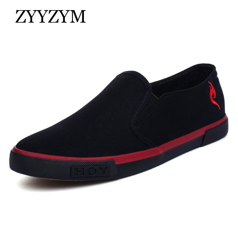 ZYYZYM Män Canvas Canvas Gummi Soled Shoes Vår och Höst Slip On - Herrskor