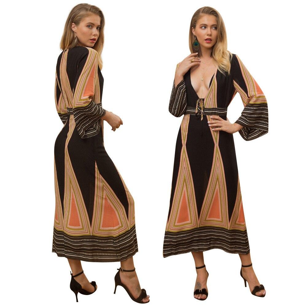 2019 spring Sexy Deep V Floral Print Maxi Dress Boho Loose Flare Sleeve V Neck Party Dresses Autumn Bohemian Long Beach Vestidos