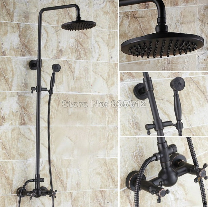 Bathroom Black Oil Rubbed Bronze Dual Handles Rain Shower Faucet Set with Handheld Shower Head / Wall Mounted Mixer Taps Wrs413