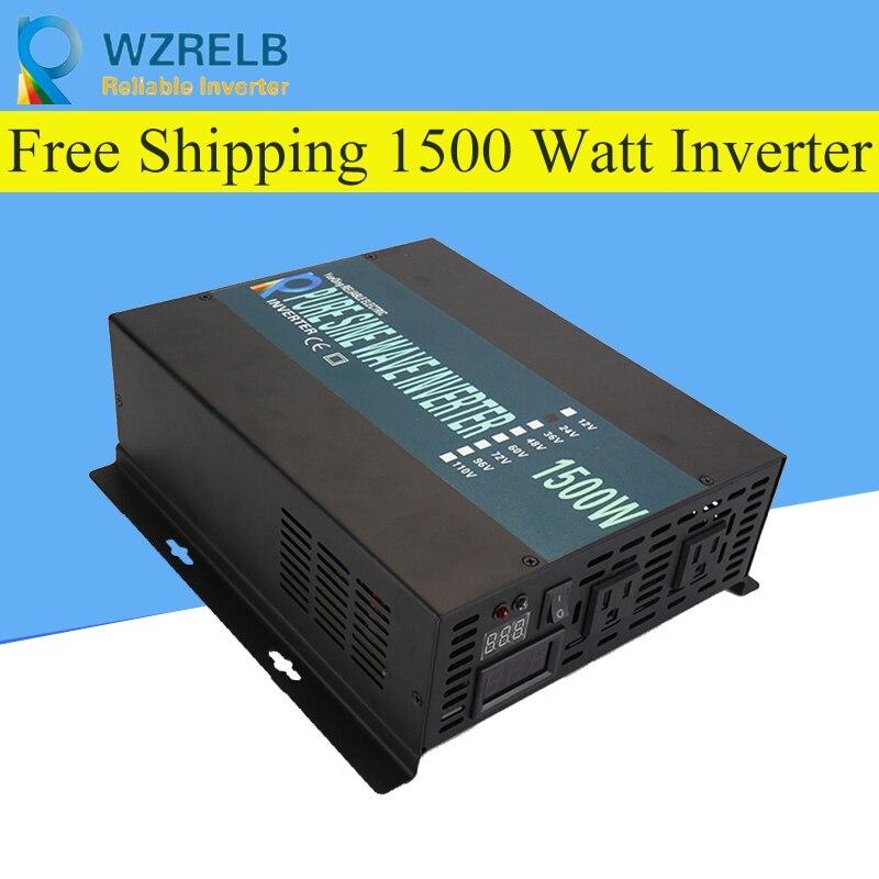 Пик полная мощность 1500 Вт Солнечный Инвертор Чистая синусоида инвертор автомобиля мощность Инвертор 12 В/24 В до 120 В/220 В постоянного тока в пе...