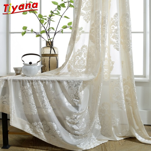 9f6e6a475 Blanco flocado cortinas flor moderno de lujo cortinas FAN Voile tul para  sala de estar dormitorio