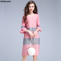 Issey Miyake Women Flare Sleeve Mini Dress Spring Summer New 2019 Stripe Loose Pleated Short Dresses Elegant Women Vestidos Pink