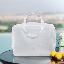 White Waterproof Mesh Swimming Bags For Girls Sac Zip Lock Plastic Maquiagem Rangement Enfant Luggage Dolap Organizer 60A24