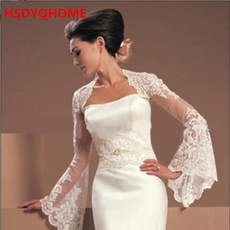 High Quality White Long Sleeve Lace Jacket Bolero Shrug Wrap Stole for wedding Dress Bridal Wraps Free shipping