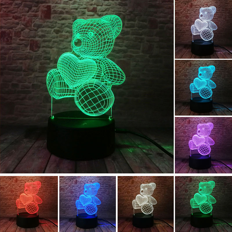 LOVE Teddy Bear Figure 3D Nightlight Visual Illusion LED Colourful Change Flash Touch Light Bedside Lamp Toys for Children gift