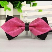 pointed 2014 new men's classic red bow ties solid color bowties  Luxury fashion gravatas borboleta Free shipping 1pcs lots
