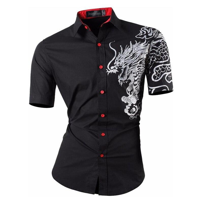 Sportrendy Men Shirts Dress Casual Fashion Short Sleeve Summer Slim Fit Dragon Stylish Tatton Print JZS056