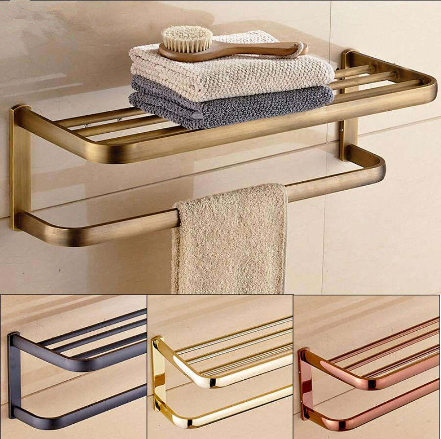 60 CM Antique Bronze Fixed Bath Towel Holder Brass Towel Rack Holder for Hotel or Home Bathroom Storage Rack Rail Shelf nail free foldable antique brass bath towel rack active bathroom towel holder double towel shelf with hooks bathroom accessories