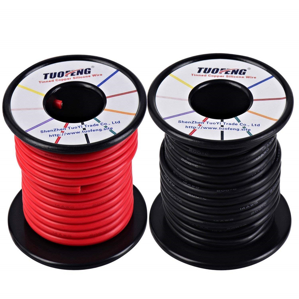 14awg Wire, Soft and Flexible Silicone Insulated Wire 66 Feet [33 ft Black And 33 ft Red ] Stranded Wire High temperature resist 20awg soft flexible silicone wire black red 100cm 2 pcs