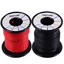 Cable de 14 AWG, cable aislante de silicona suave y Flexible de 66 pies [33 pies negro y 33 pies Rojo] cable trenzado resistente a altas temperaturas