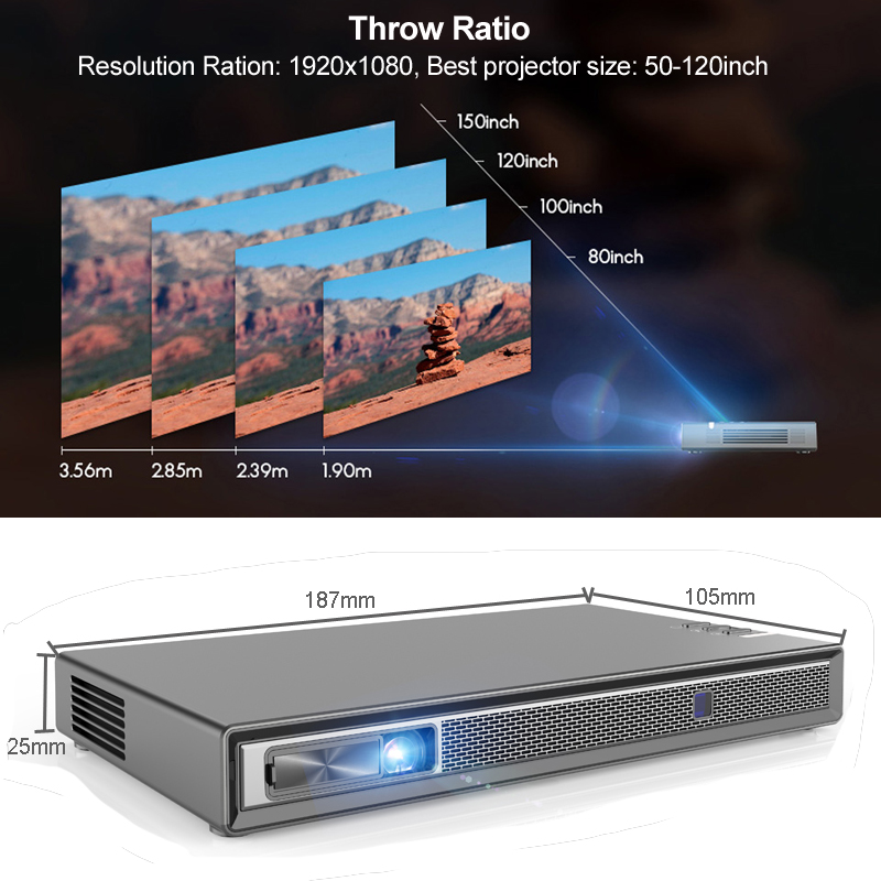 Image 5 - WZATCO T5 HD 4K Real 3D DLP Projector Battery with Zoom, Auto Keystone,Android 6.0 WiFi LED Smart Proyector Bluetooth Airplay-in LCD Projectors from Consumer Electronics