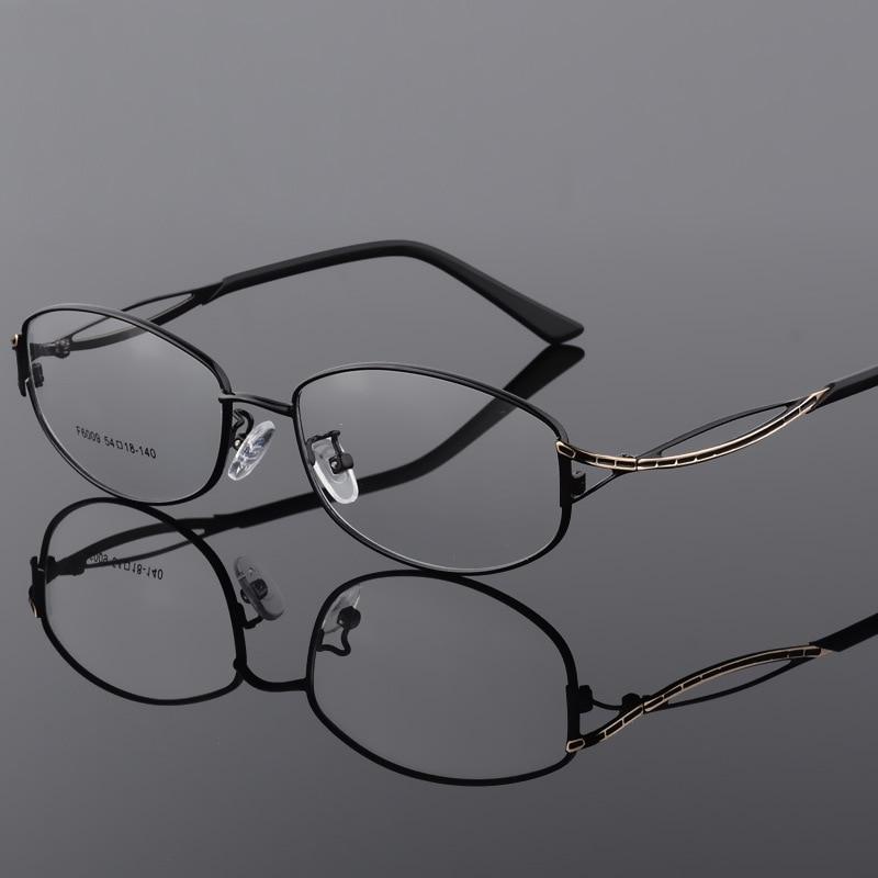 BCLEAR Alloy Eyeglasses Ladies Elegant Oval Full Frame Glasses Frame Metal Ultra Light Presbyopia Myopia Prescription Eyewear in Women 39 s Eyewear Frames from Apparel Accessories