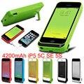 RU EUA Estoque Para Iphone SE/5/5S/5C 4200 mAh USB Externo Capa Carregador Banco Do poder Da Bateria de Backup Pacote Caso com linha de cabo USB