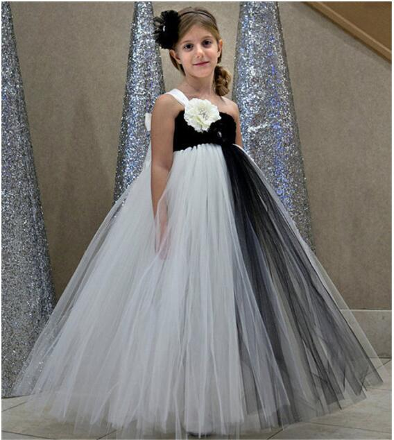 New Pretty For Girls Cheap Costume Pageant Dress Floor Length One Shoulder Ivory Tulle Organza Flower First Communion Dress 2017
