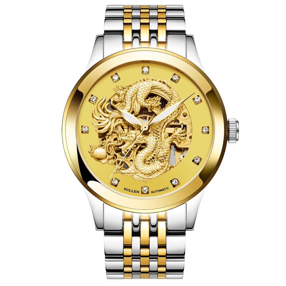 2017 Dragon Skeleton Automatic Mechanical Watches For Men Wrist Watch Stainless Steel Strap Gold Clock  Waterproof Mens Relogio shenhua brand black dial skeleton mechanical watch stainless steel strap male fashion clock automatic self wind wrist watches