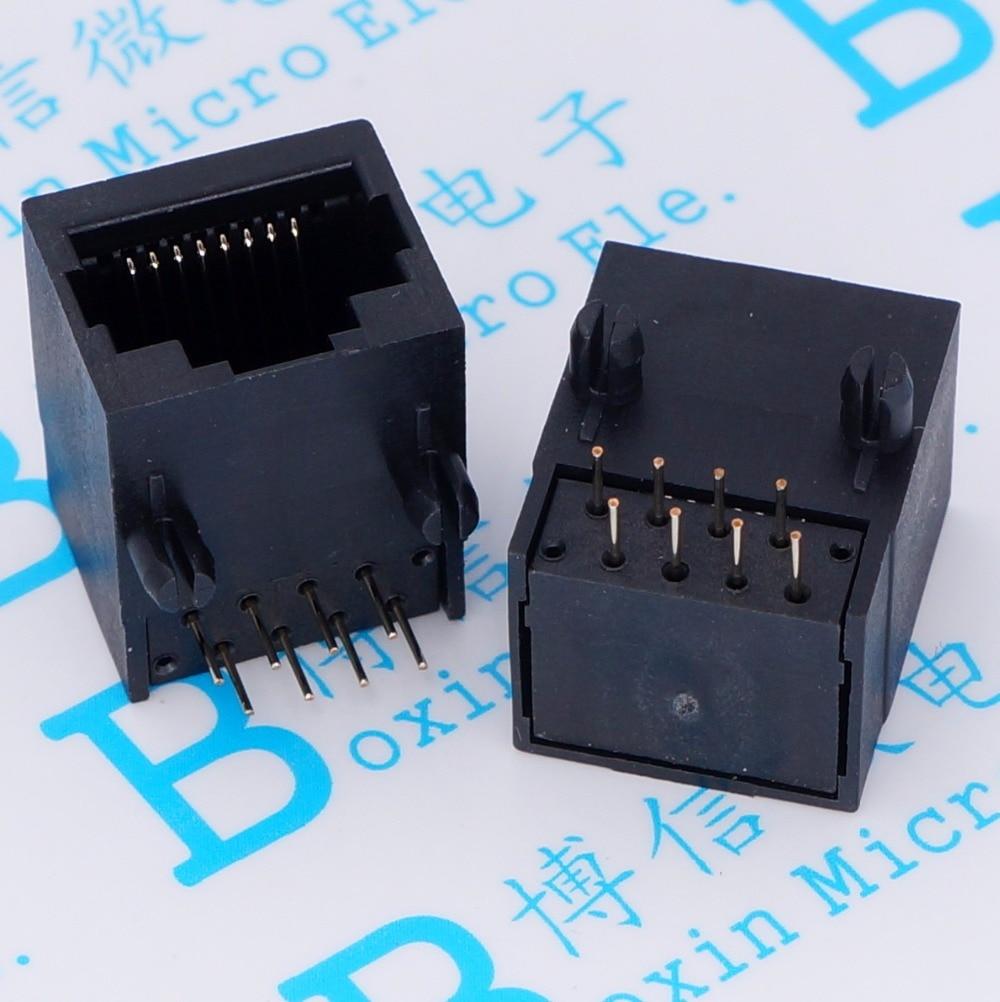 50 Adet Rj45 183 Plastik Ethernet A Arabirimi 8 Pin Kadn Siyah Sablon Thailand 12mm 1518