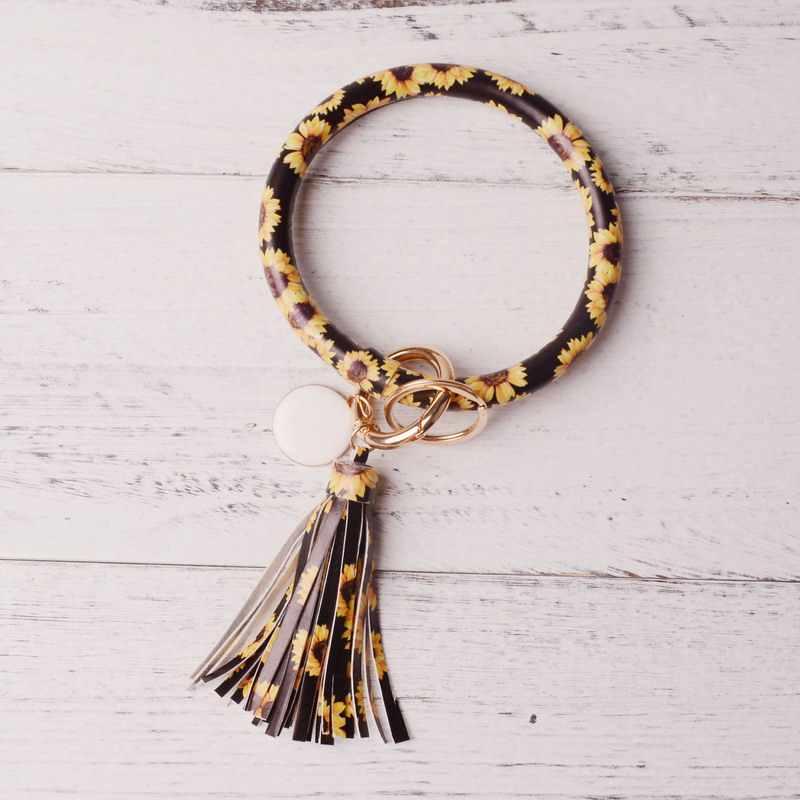 Rainbery Neue Mode Multiful Quaste Keychain Emaille PU Leder O Schlüssel Kette Monogramm Kreis Armband Keychain Für Frauen Mädchen