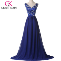 Elegant Red Royal Blue Chiffon Formal Evening Dresses 2016 Grace Karin Lace UP Special Occasion Dresses