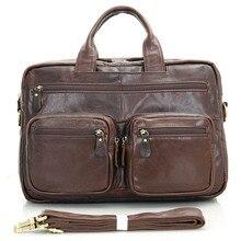 JMD Vintage Leather Laptop Bag Top Handbag Men's Briefcases for Business Man 7231Q