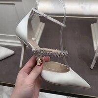 Атласные женские туфли-лодочки на высоком тонком каблуке, женская обувь с блестками, украшенная кристаллами, на шпильке, женская брендовая ...