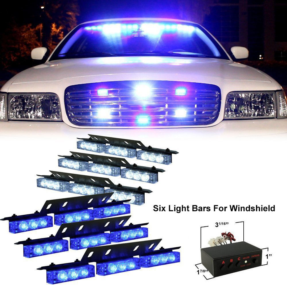 CYAN SOIL BAY 54 LED Emergency Car Vehicle Strobe Flash Lights Bars Warning Blue White 54 led emergency vehicle strobe lights bars warning deck dash grille amber white
