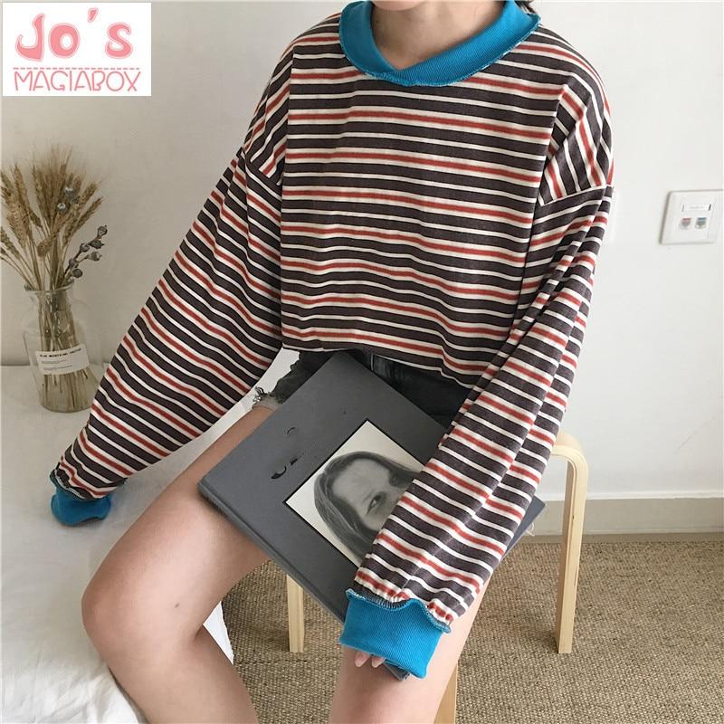 Chic-Harajuku-Style-Stripe-Long-Sleeve-Shirt-Ulzzang-Oversized-Hoodie-Loose-Pullover-Women-Shirt-2018-New