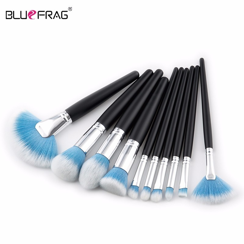 bluefrag 10pcs brushes for makeup foundation power eye shadow blending contour highlight cosmetic beauty make up