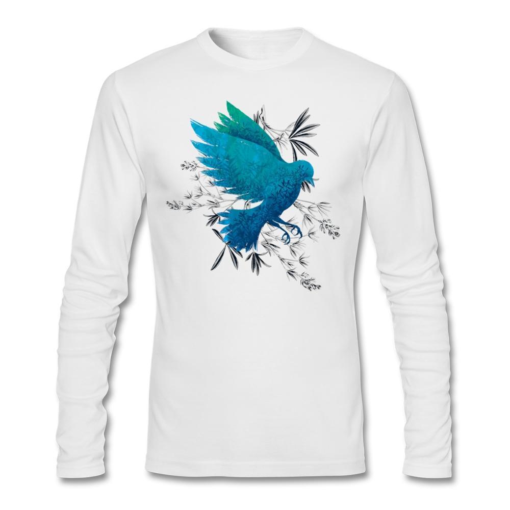 Design your own eco-friendly t-shirt - Black Friday Design Your Own O Neck Organic Cotton Birdy Bird Long Sleeve Men 2016 Fashion Birdy Bird Winter T Shirts Cheap Sale