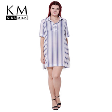 Kissmilk 2017 Fashion Plus Size Women Clothing Stripes Elegant Basic Shirt Chiffon Casual Loose Blouse Big Large 3XL-6XL