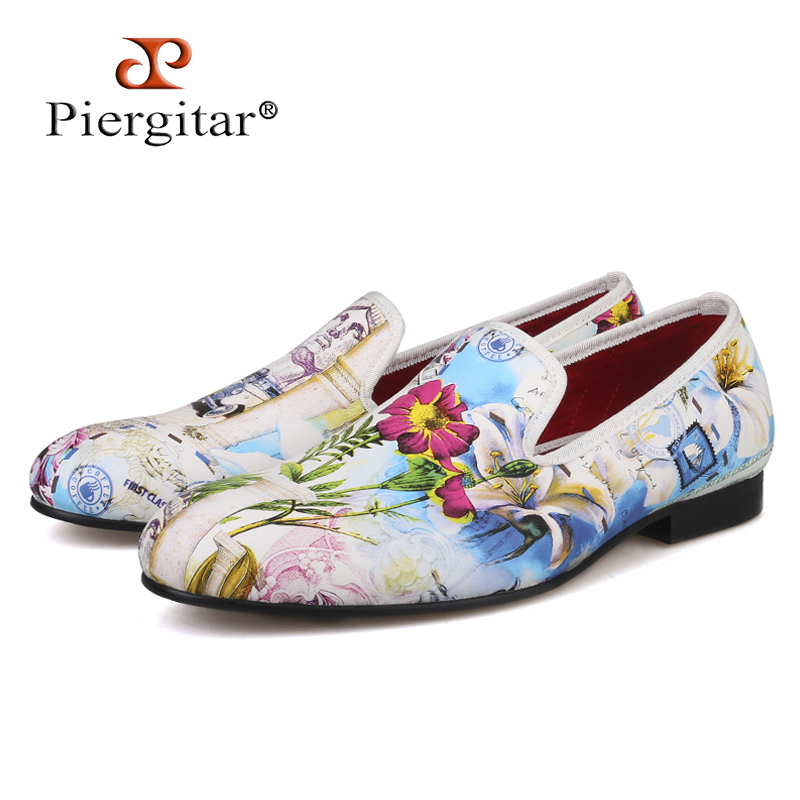 Piergitar 2019 New Style Colourful Flowers Prints White Color Men Shoes Fashion Men Smoking Slipper Wedding Party Men's Loafers