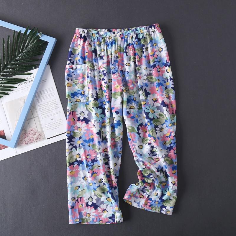 Multi-Color Print Summer Women Loose Elastic Waist Sleep Bottom Female Trendy Calf Length Breathable Thin Cotton Pants