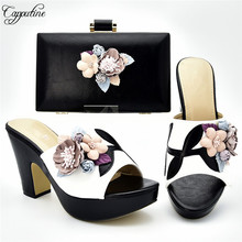 Amazing black and white party set high heel shoes and handbag set deocrated with flower 333-1, heel height 10.5cm