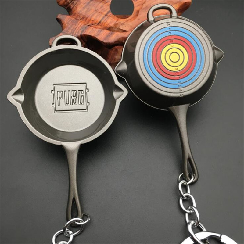 Game PUBG Frying Pan Target Practice Key Chain Playerunknown's Battlegrounds Cosplay Props Frying Pan Alloy Key Chain