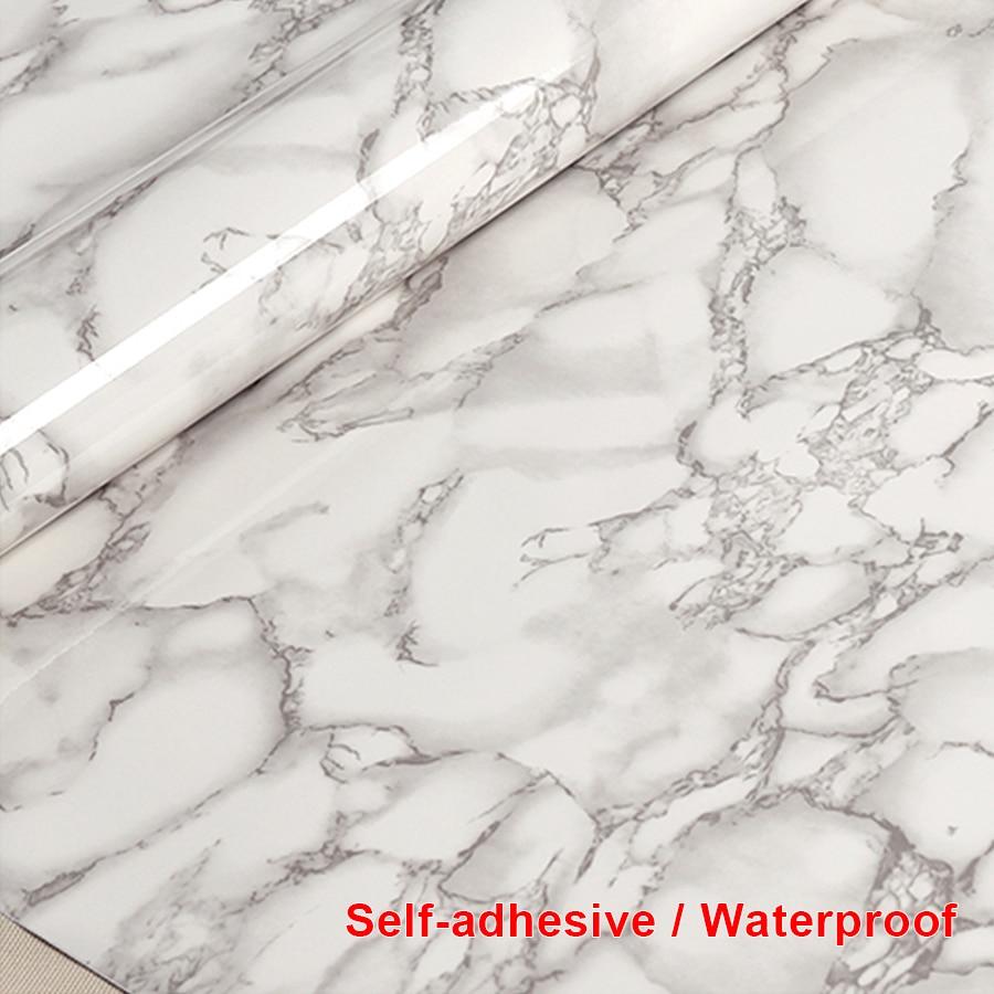 3M Gray font b Marble b font Self adhesive Decorative Film Rolls Bathroom font b Kitchen