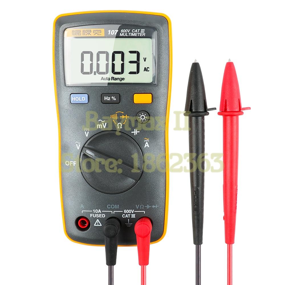 Fluke 107 Auto Range Digital Multimeter AC DC Voltage Current Tester with Ohm Capacitance Hz Measurement