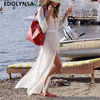 Beach Outings Cover Up Kimono Chiffon Robe Plage White Kaftan Dress Pareos For Women Beach Tunic