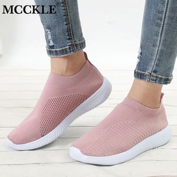 Kobiety Sneaker siatka powietrzna miękkie kobiece dzianiny buty wulkanizowane wygodne wsuwane damskie płaskie buty obuwie spacerowe upuszczając