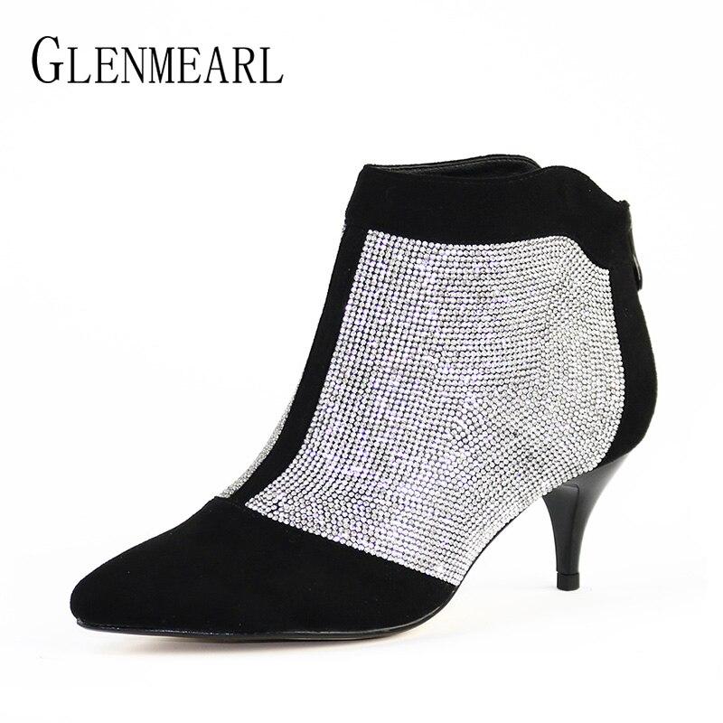 الشتاء النساء الأحذية حذاء من الجلد عالية الكعب العلامة التجارية حجر الراين رقيقة الكعوب أحذية بوت قصيرة امرأة كبيرة الحجم البريدي الزفاف الأحذية الإناث تفعل-في أحذية الكاحل من أحذية على  مجموعة 1