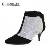 Winter Women Shoes Ankle Boots High Heels Brand Rhinestone Thin Heels Short Boots Woman Large Size
