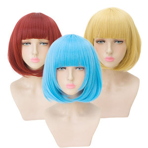 Image 2 - HSIU 35cm short bobo Wig Black white purple blue red yellow high temperature fiber Synthetic Wigs Costume Party Cosplay Wig