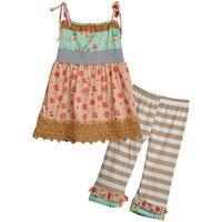 Fabrika doğrudan satış pamuk kızlar yaz giyim dantel dress çizgili fırfır pantolon butik eşleştirme çocuklar toptan giyim s122