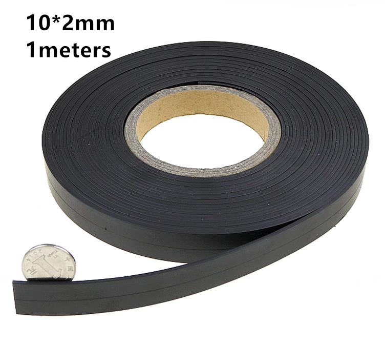1meters a roll 10*2mm Flexible Soft Magnetic Rubber Magnet Strip Tape for Home doors and windows Office equipment
