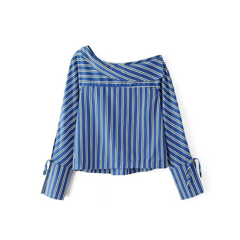 Automne À 208 Blouses Encolure Mode Femmes Rayé Chemises Longues Tops Slash Jellpe Manches Cou F8RdBqxwBE