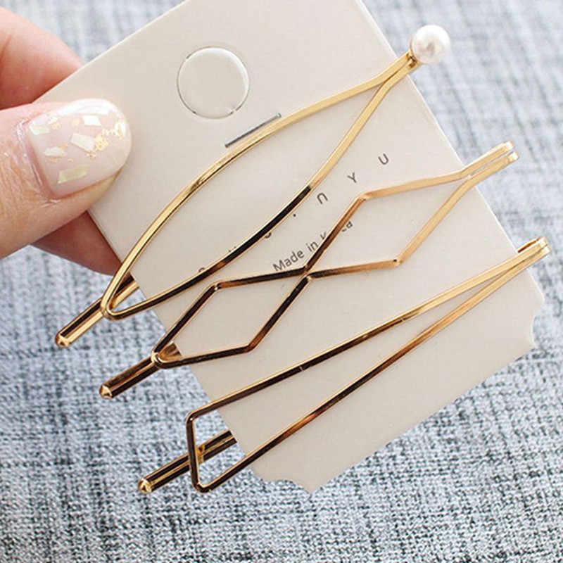 Hot New 2019 1 set Sweet Korean Pearl Golden Barrette Girls Hair Clips Women Girls Hair Pins Bang Clip Hair Accessories
