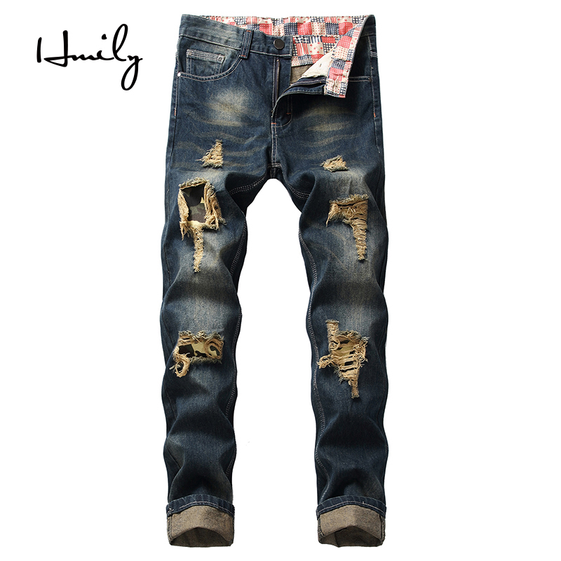 HMILY Mens Jeans Size 28 28 42 Big Tall Men's Designer Denim Ripped Holes Distressed Man Jeans All-match Male Jeans