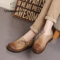 2016 Leather Soft Bottom Shoes Retro Pregnant Mother Shoe Elderly Women Shoes Driving Shoe Female Loafers