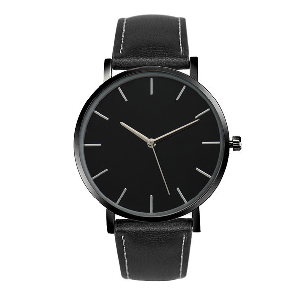 Fashion Quartz Watch Black Dial with Black Leather Band
