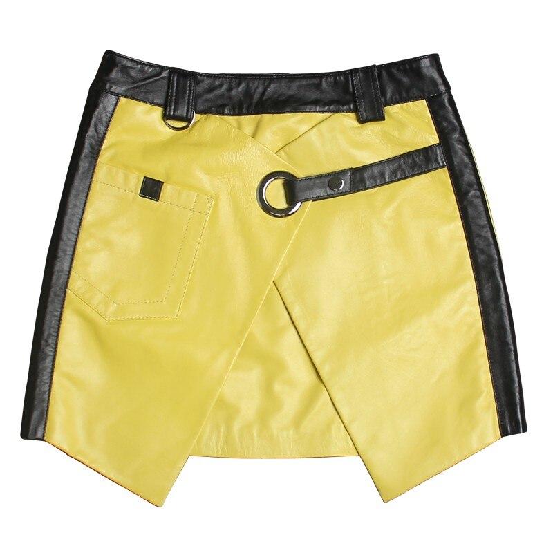 Faldas De Mini Yellow Amarillo Mujeres Línea Nuevo 2019 Invierno Cuero Oveja Streetwear Sexy 100 Harajuku Genuino Otoño qWFWwt8p