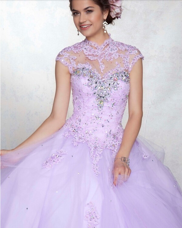 2014Custom Light Purple Ball Gown Quinceanera Dress Beads High ...